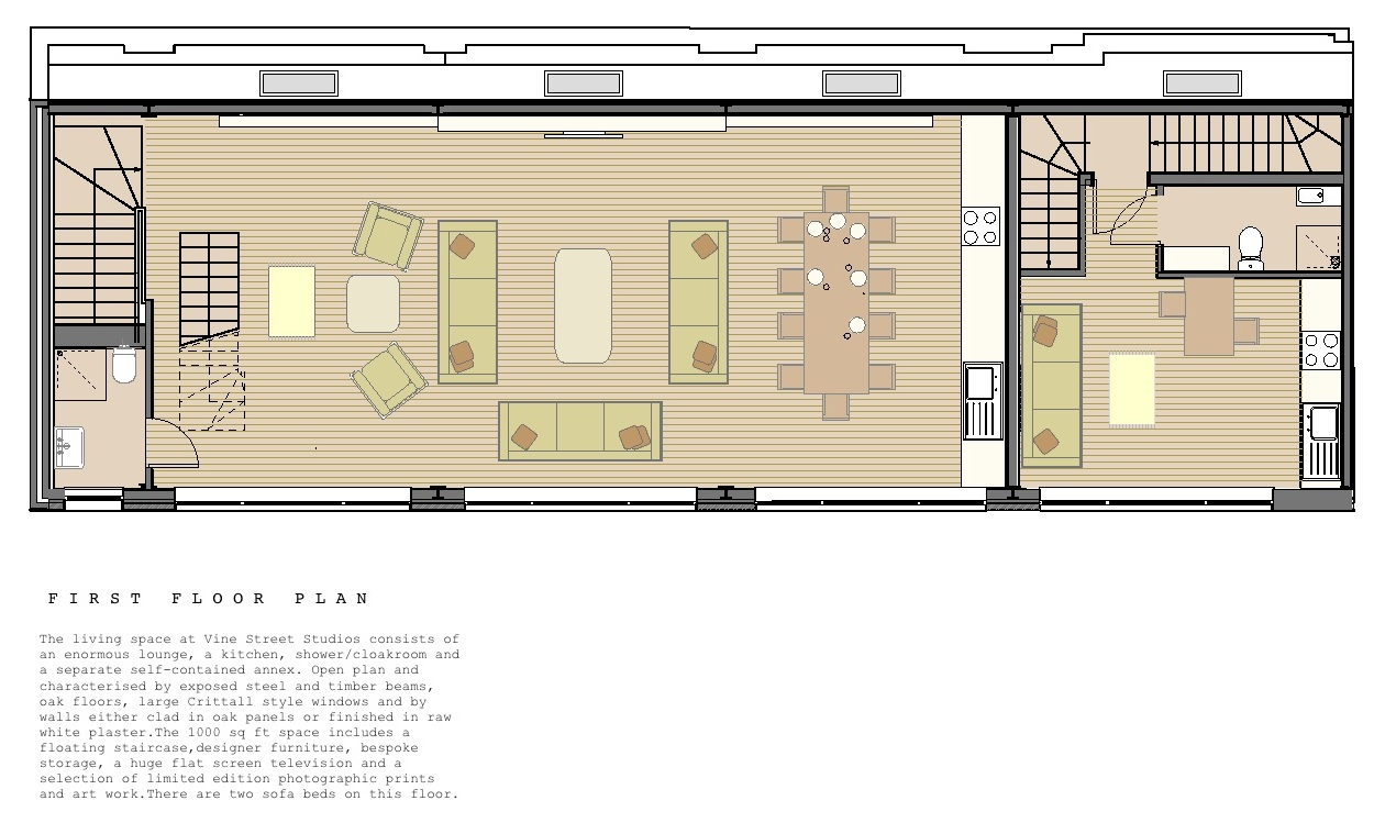Loft apartment vine street studios for Floor plans first